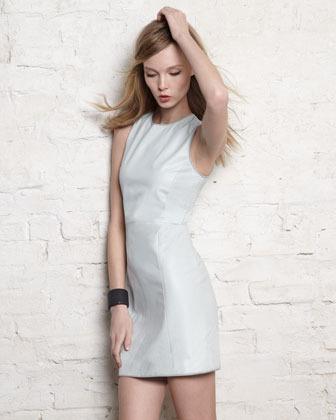 Theyskens' Theory Dimo Leather Sleeveless Dress