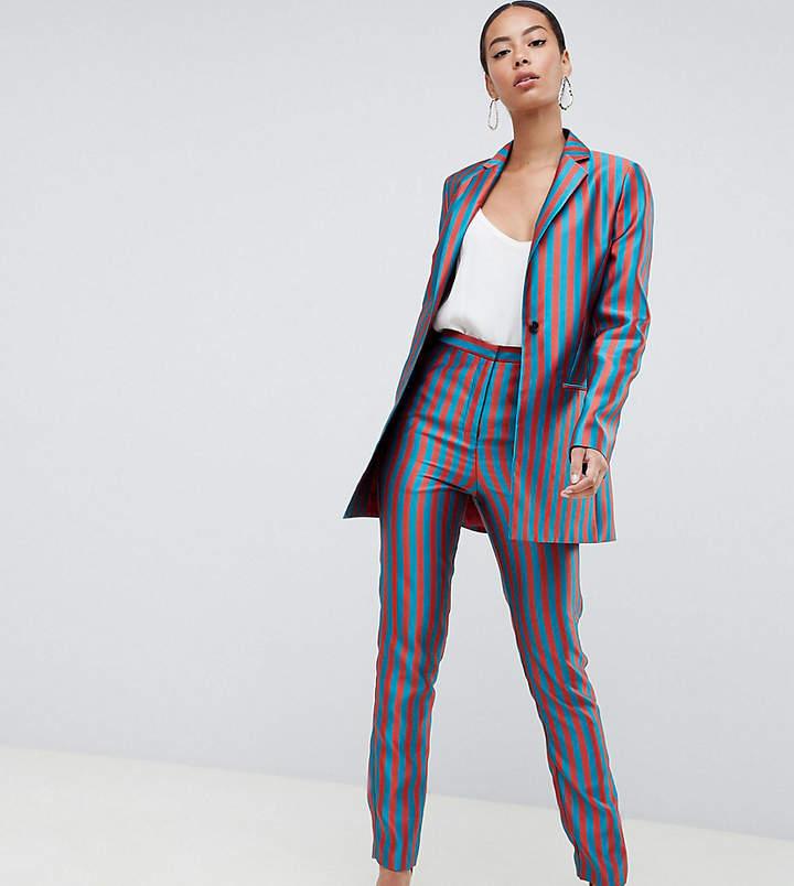 ASOS DESIGN Tall tailored slim pants in striped jacquard