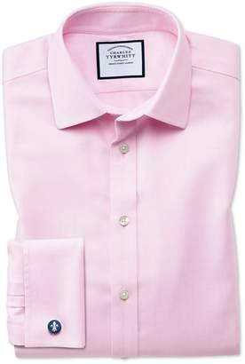 Charles Tyrwhitt Classic Fit Non-Iron Step Weave Pink Cotton Dress Shirt Single Cuff Size 15.5/33