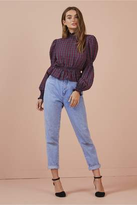 Finders Keepers PICNIC LONG SLEEVE TOP navy w red