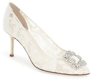 Women's Manolo Blahnik 'Hangisi' Pointy Toe Lace Pump $1,035 thestylecure.com