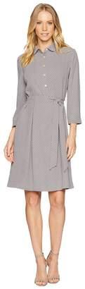 Anne Klein Shirtdress w/ Sash - Sequin Dot Printed Women's Dress