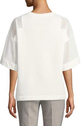 Akris Punto Short-Sleeve Mesh Panel Sweatshirt