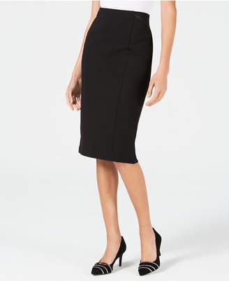 Alfani Faux-Leather-Trim Midi Skirt