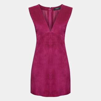 Theory Double-Faced Suede V-Neck Dress