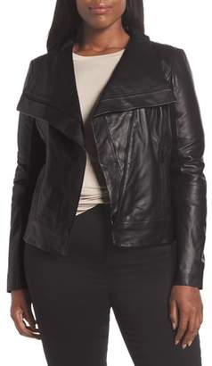 Trouve Drape Front Leather Jacket