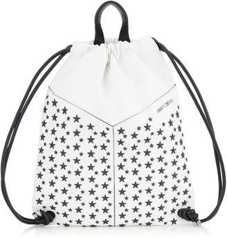 Jimmy Choo MARLON White and Black Biker Leather Drawstring Backpack with Stars