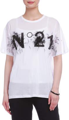 N°21 (ヌメロ ヴェントゥーノ) - N°21 オーストリッチフェザー ロゴ Tシャツ ホワイト 36
