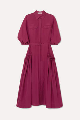 Gabriela Hearst Woodward Belted Gathered Wool And Cashmere-blend Midi Dress - Plum