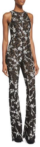 MICHAEL Michael KorsMichael Kors Floral-Lace Flare-Leg Jumpsuit, Black