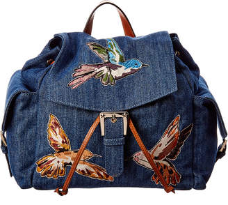RED Valentino Embroidered Bird Cotton Denim Backpack