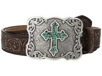 M&F Western Scroll Pierced Turquoise Cross Belt