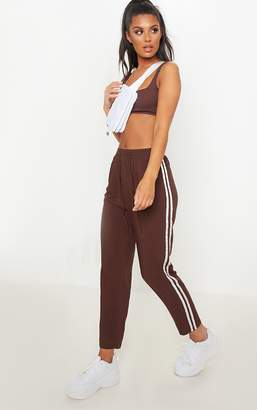 PrettyLittleThing Chocolate Double Stripe Drawstring Casual Trouser