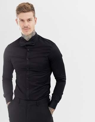 Asos DESIGN skinny sateen shirt with wing collar