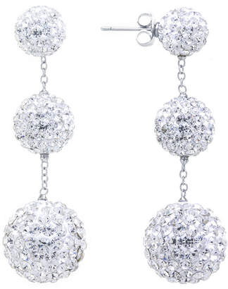 SPARKLE ALLURE Sparkle Allure Crystal Graduated Pave Ball Silver Plated Drop Earrings