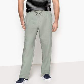 CASTALUNA FOR MEN Pure Linen Trousers with Elasticated Waist
