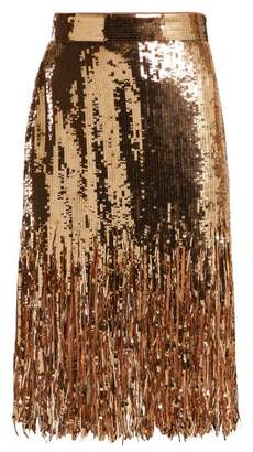 MSGM Fringed Sequinned Skirt - Womens - Gold