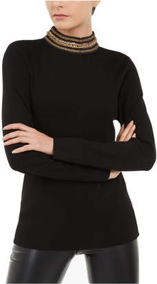 INC International Concepts Inc Chain-Link Mock-Neck Sweater
