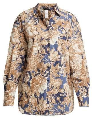Max Mara Oversized Jungle Print Cotton Shirt - Womens - Blue Multi