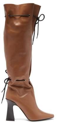 Fabrizio Viti - Garrett Drawstring Knee High Leather Boots - Womens - Tan