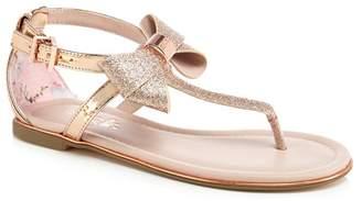 Ted Baker 'Girls' Gold Glitter Sandals
