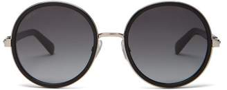 bb716aec69d Jimmy Choo Andie Glitter Round Frame Sunglasses - Womens - Black