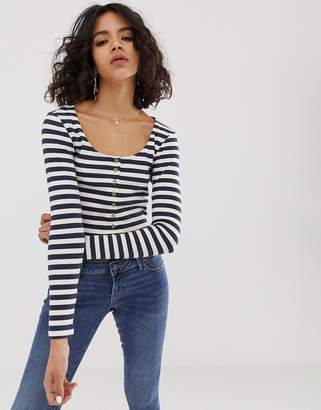 NATIVE YOUTH long sleeve top with button front in stripe rib