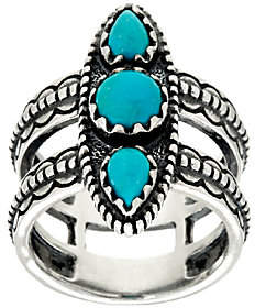 American West Jennifer Nettles Sterling Silver Double BandTurquoise Ring