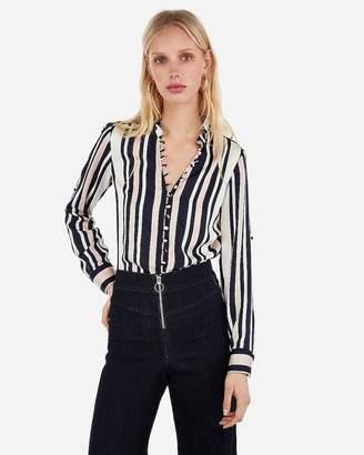 2bcab15d6d2226 Express Petite Slim Fit Satin Striped Ruffle Collar Portofino Shirt
