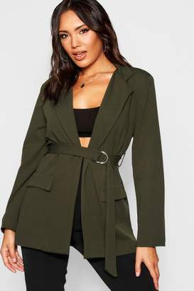 boohoo D-Ring Pocket Longline Blazer
