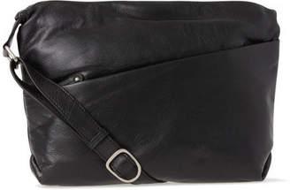 Leather Front Zip Pocket Shoulder Bag 2812 BLK