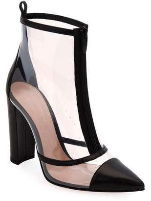 Gianvito Rossi See-Through Leather and Plexi Booties