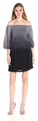Michael Stars Women's Ombre Wash Double Gauze Off Shoulder Dress