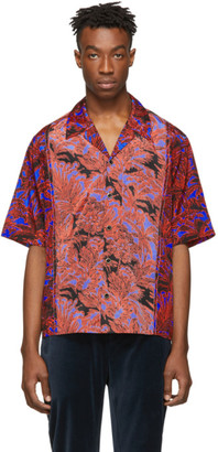 3.1 Phillip Lim Red and Blue Palm Tree Floral Souvenir Short Sleeve Shirt