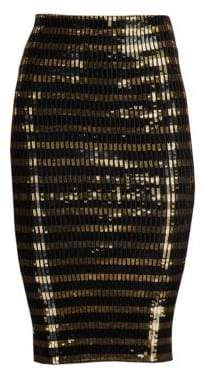 Ralph Lauren Women's Sequin Striped Pencil Skirt - Black Gold - Size Small