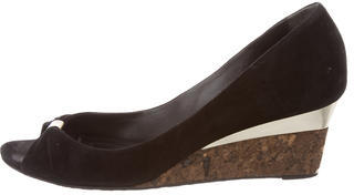 GucciGucci Suede Peep-Toe Wedges