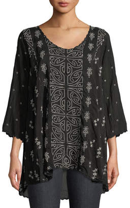 Johnny Was Ridden Embroidered 3/4-Sleeve Blouse