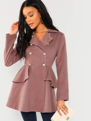 1f67aee31d Shein Double Breasted Collar Neck Solid Coat