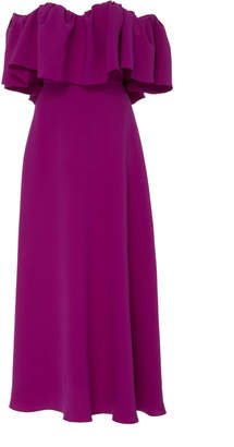 Lela Rose Off-The-Shoulder Ruffle Silk Maxi Dress