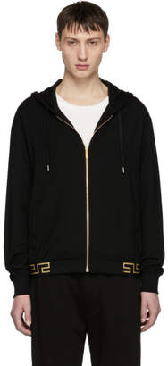 Versace Underwear Black Greek Key Hem Zip Hoodie