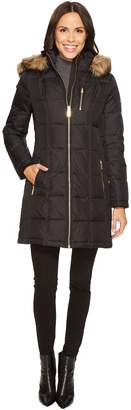 MICHAEL Michael Kors Womens Zip Front Down with Faux Fur Trim Hood M821883T MD One