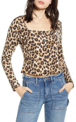 One Clothing Leopard Print Square Neck Sweater