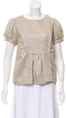 Loeffler Randall Metallic Short Sleeve Top