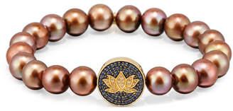 Sydney Evan Brown Potato Pearl Bracelet with Sapphire & Diamond Lotus Station 2yexpPYra