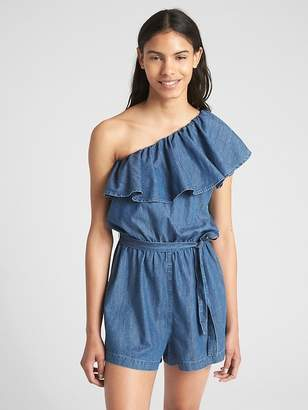 Gap Ruffle One-Shoulder Romper in Denim