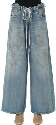 MM6 MAISON MARGIELA Dirty Wash Cotton Denim Wide Leg Jeans