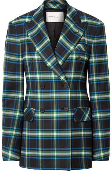 Matthew Adams Dolan - Double-breasted Checked Wool-blend Twill Blazer - Storm blue