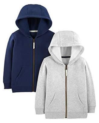 4308fb6a44bf3 Carter's Simple Joys by Boys' Toddler 2-Pack Fleece Full Zip Hoodies