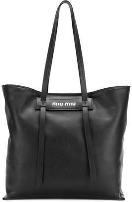 Miu Miu logo plaque tote bag