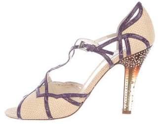 Prada Embellished Straw Peep-Toe Sandals